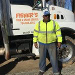 fisher truck and man